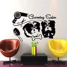 Pet Shop Salon Wall Decal Dog Bones Hair Dryer Comb Scissors Art Mural Dogs  Grooming Salon Part 89