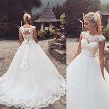 סקסי סקופ צוואר חתונת שמלות 2020 למעלה תחרת אפליקציות שרוולים שווי שרוול כלה שמלות לטאטא רכבת Vestido דה Noiva