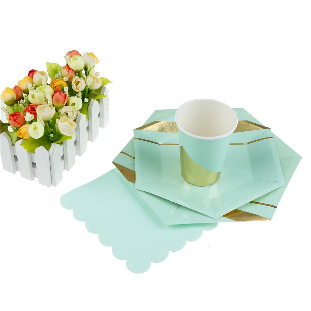 1Set Mint Green Disposable Tableware Set Paper Plates Cups Napkins Party Wedding Tableware-in Disposable Party Tableware from Home \u0026 Garden on ...  sc 1 st  AliExpress.com & 1Set Mint Green Disposable Tableware Set Paper Plates Cups Napkins ...
