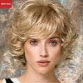 Elegant Fluffy Short Human Hair Wigs For Women MAYSU Layered Trendy Brazilian Virgin Hair Blonde wig Elastic Cap European Style