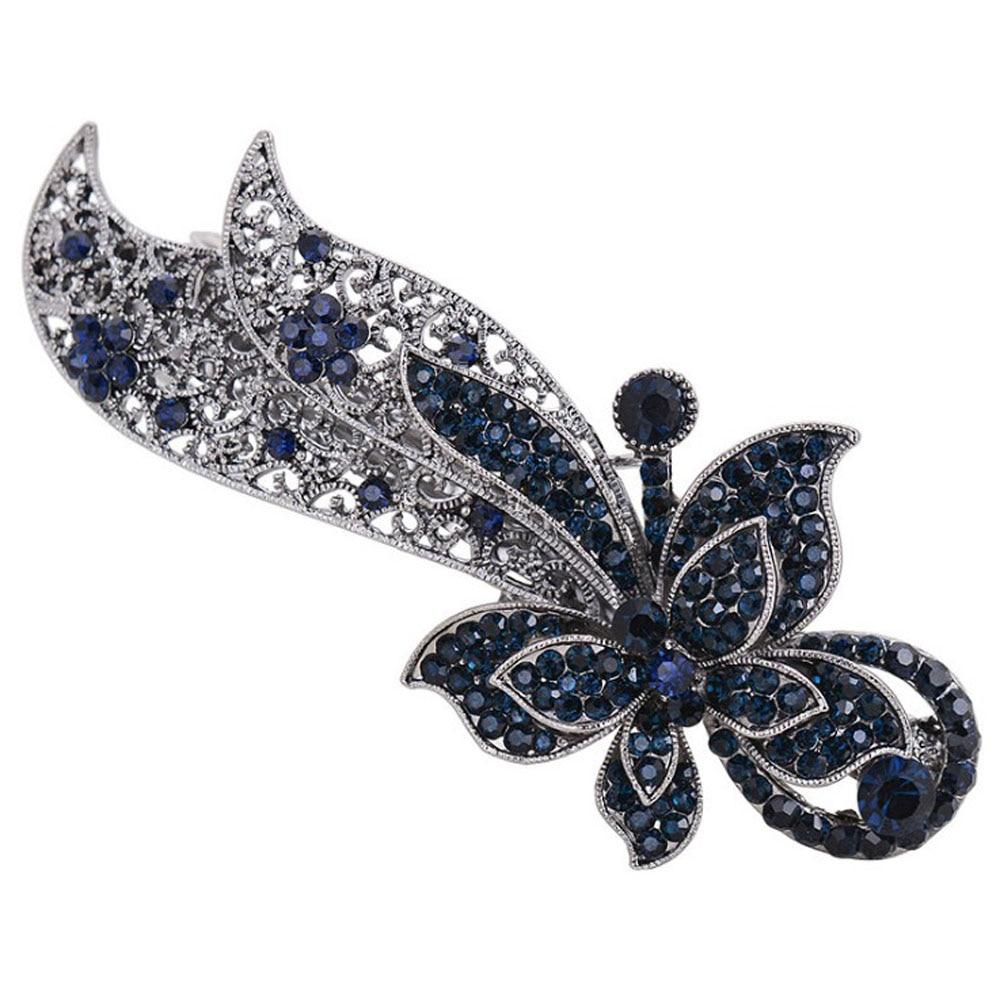 1 PCS Vintage Women Crystal Hair Clips Opal Leaf Resin Butterfly Girls   Headwear   Jewelry Elegant Barrettes