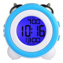 Цифровой двойной будильник Громкий будильник Твин Белл Дети небольшие часы большой дисплей с Повтор и ночник батарея работает