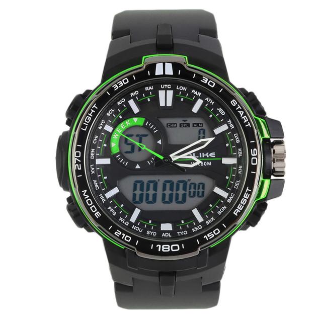 2016 Nuevos Hombres de Natación Multifuncional Luminoso Impermeable Relojes de Movimiento de Cuarzo Importado de Doble Pantalla Del Reloj Militar Del Deporte