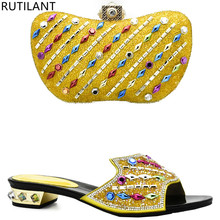 Yellow Color Italian Shoes And Bags To Match With Bag Set Decorated Rhinestone Nigerian Women Wedding