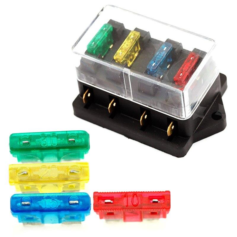 12v 24v auto car truck 4 way blade fuse block fuse box unit holder rh aliexpress com