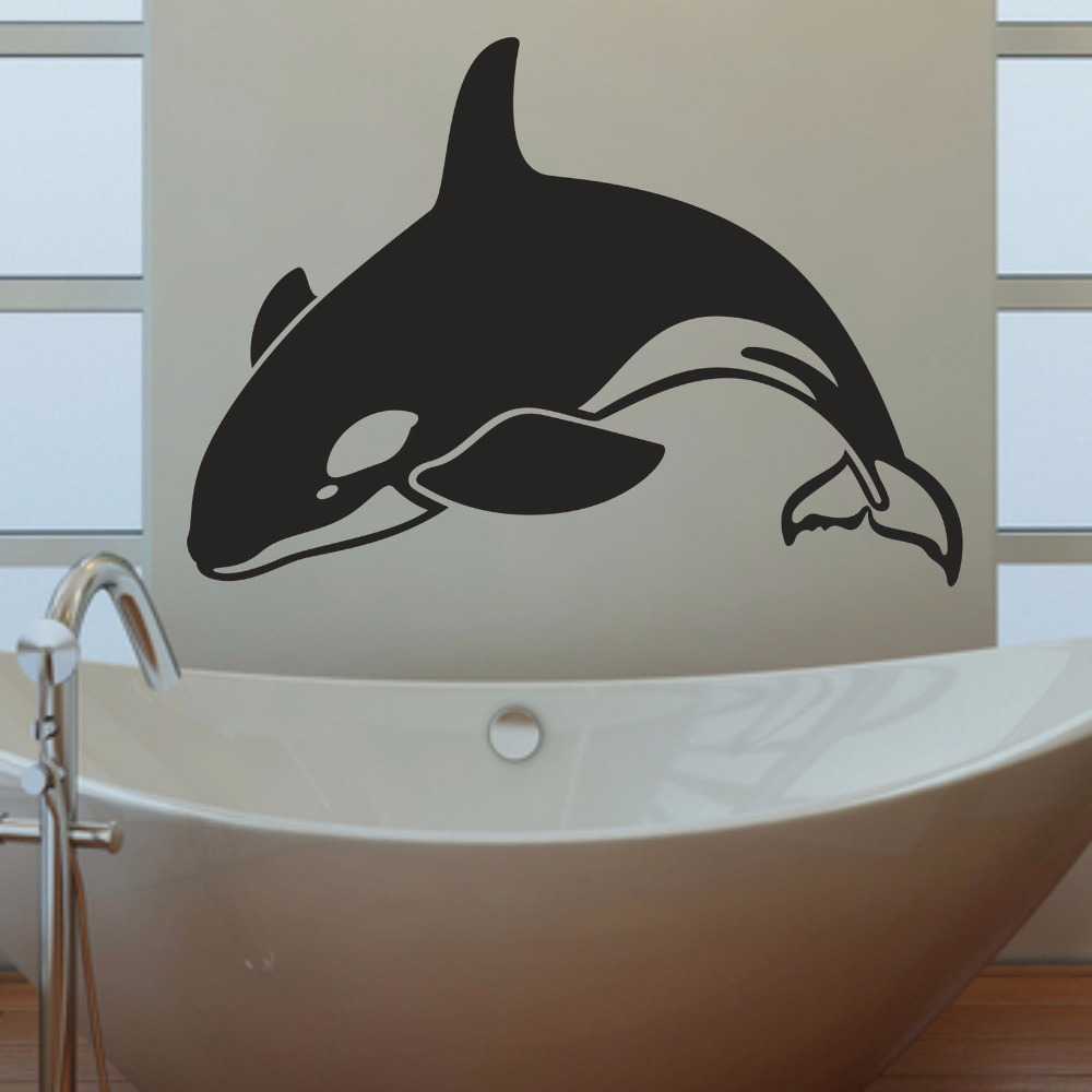 From the window to the wall whale - Orca Killer Whale Bathroom Living Room Bedroom Contemporary Home Decal Window Stick Removable Vinyl Wall Art