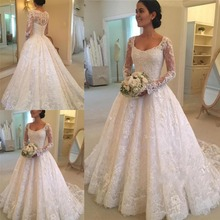 SexeMara Scoop Neck Long Sleeve Lace Wedding Dresses Gowns