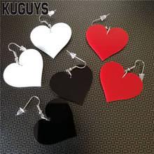 Kuguys jóias acrílico preto branco vermelho coração brincos para mulher pendientes na moda vintage hyperbole gota brinco ds dj brincos