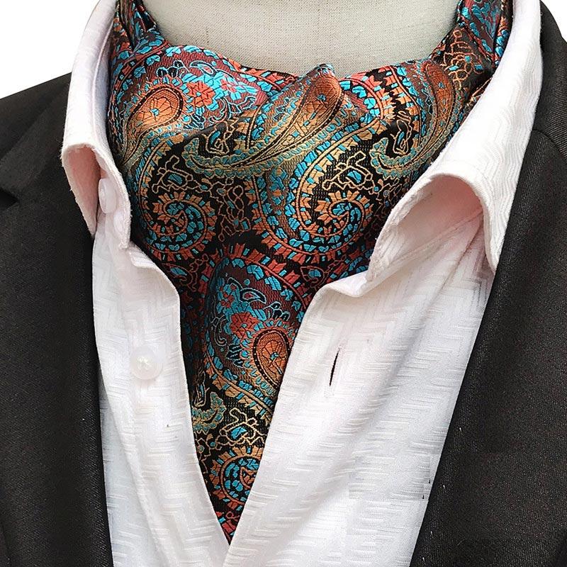 Luxury Mens Vintage Paisley Floral Formal Cravat Ascot Tie Self British Style Gentleman Polyester Silk Necktie For Wedding Party