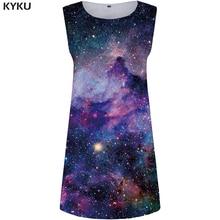 KYKU Galaxy Dress Women Blue Party Wrap Cloud 3d Print Beach Space Sexy Punk Rock Womens Clothing Summer Ladies Dresses