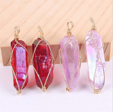 1pc Crystal Natural Big Druzy Transparent Wire Necklace Quartz Pendant Stone Pillar Pendants Handmade Wrapped