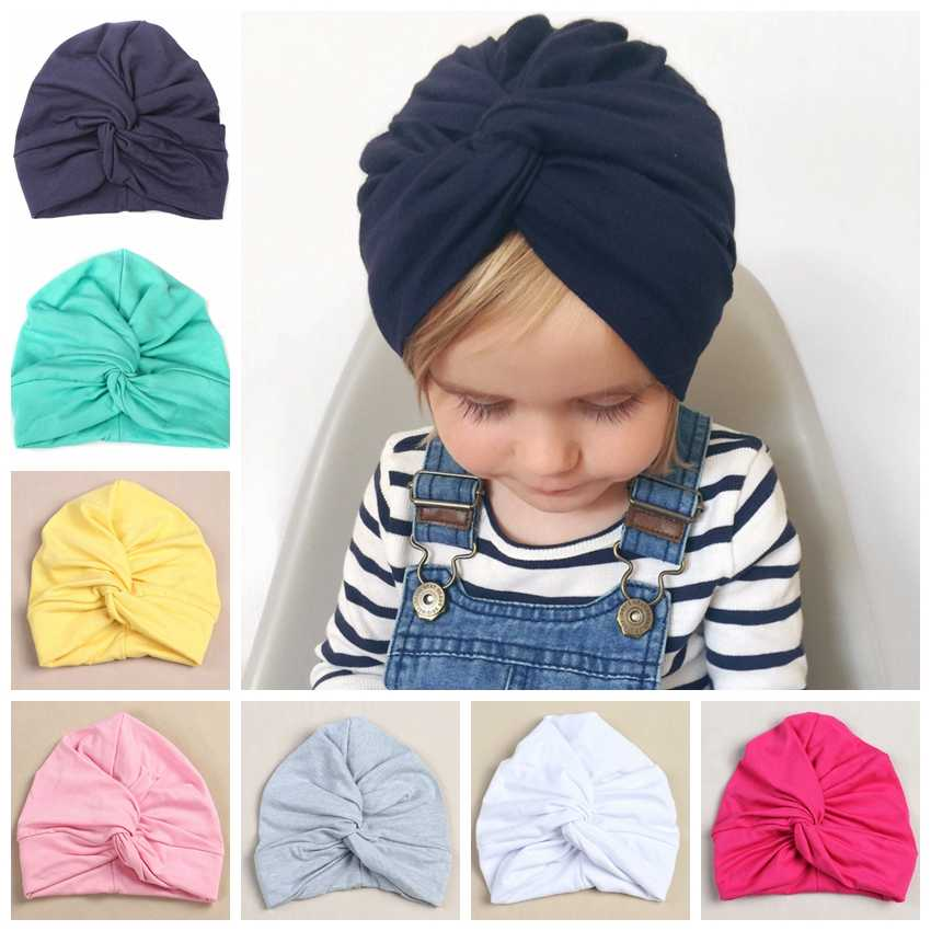 f443d68e Cute 12 Colors Cotton Blend Baby Turban Hat Newborn Beanie Caps Headwear  Infant Toddler Shower Hat