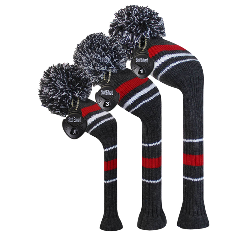 Grey Red Stripes Aviso Cor Estilo Knit Golf Club Head Cover, Conjunto de 3 para 3 para Driver Wood (460cc), Fairway, Hybrid / UT