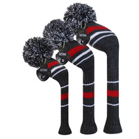 Grey Red Stripes Warning Color Style Knit Golf Club Head Cover, Set of 3 for 3 for Driver Wood(460cc), Fairway , Hybrid/UT