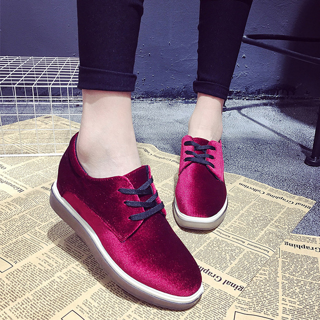 2017 Fashionable Womens Shoes Low Top Oxford Lace Up Derby Flats Square Toe Thick High Quality Students Velvet Elevator Creepers