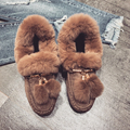 2017 winter NEW! fashion women's keep warm flats with fur cotton flat shoes Free shipping