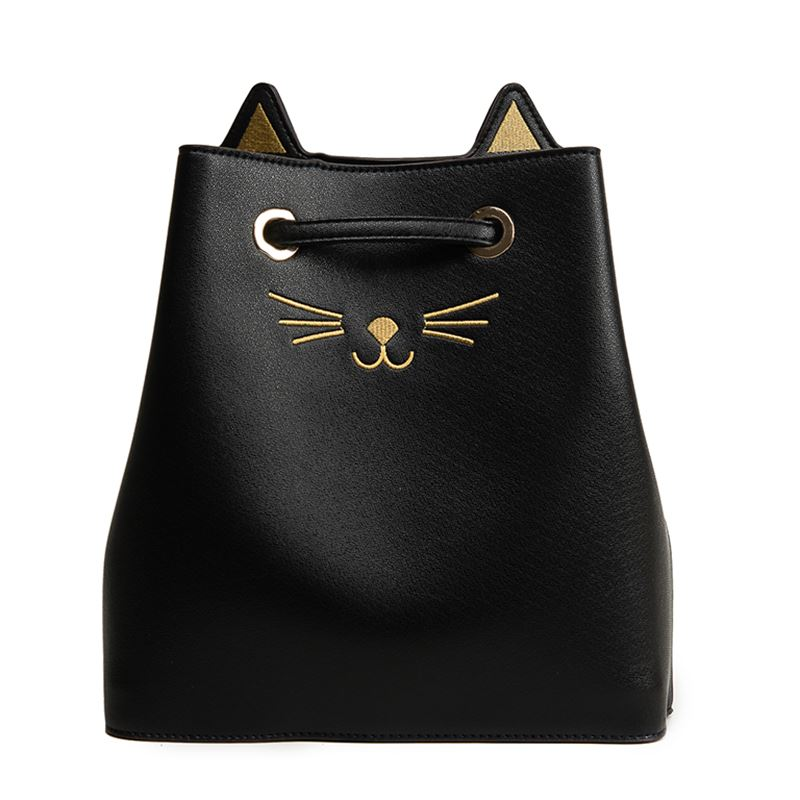 FGGS-New Large Capacity PU Cute Cat Pattern Cross-Body Bags String-Drawn Single Shoulder Bags