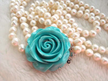 3rows  freshwater pearl white near round 8-9mm 17-20inch necklace green flower clasp wholesale bead gift discount nature