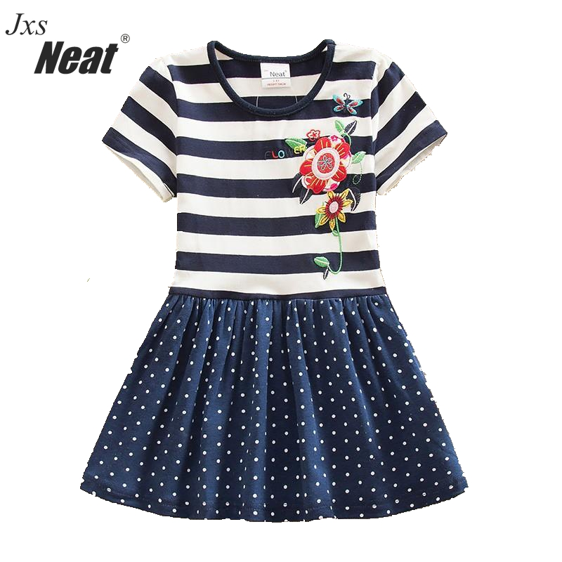 NEAT Letní dívčí šaty 100% bavlněné výšivky dětské šaty pro dívky Krátký rukáv květiny šaty Dětské oblečení SH5908