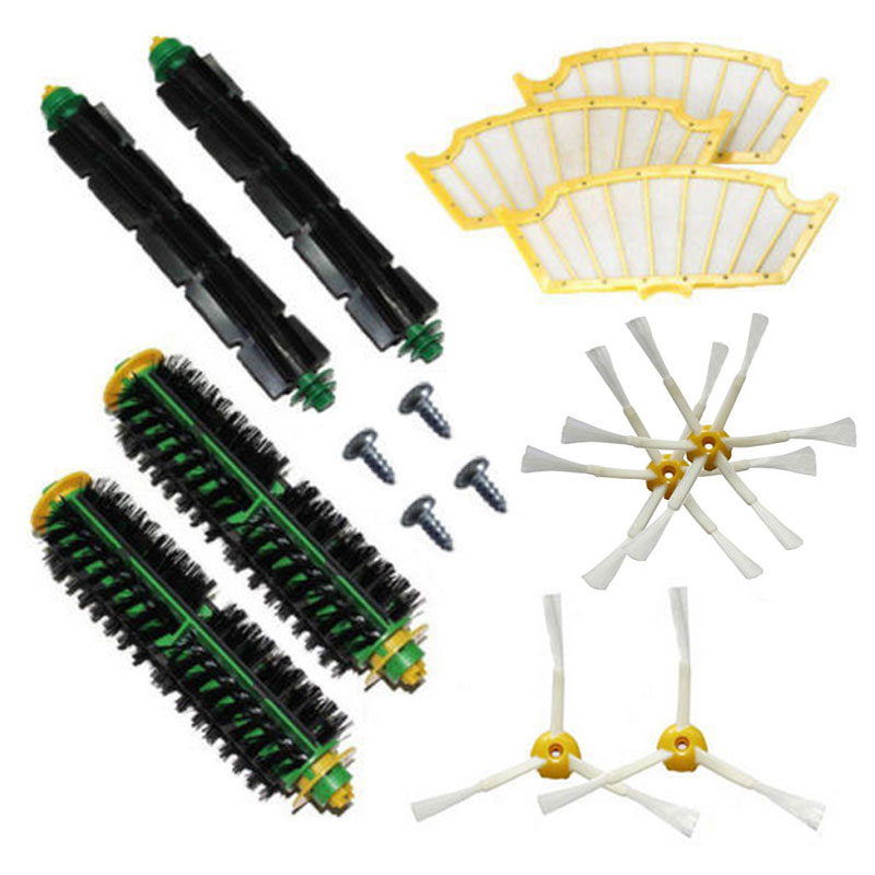 High Quality Accessory Brush for Irobot Roomba 500 Parts 520 530 540 550 560 570 580 Series Vacuum Cleaner Replacement 3 filters 3 side brush 3 armed vacuum cleaner accessory kit for irobot roomba 500 series 530 540 550 560 570 580 610