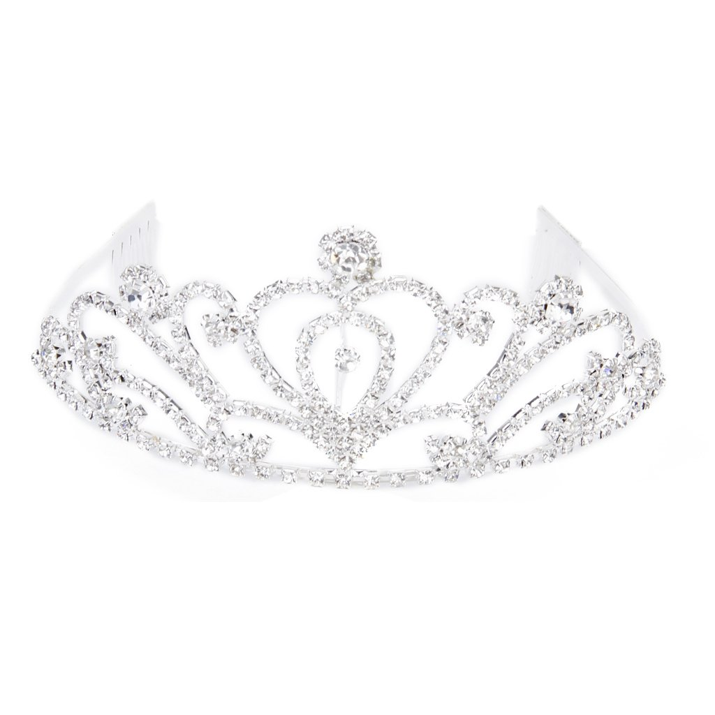 TFGS 10 x Fashion Wedding Party Bride Crown Rhinestones Headband with Comb Tiara White