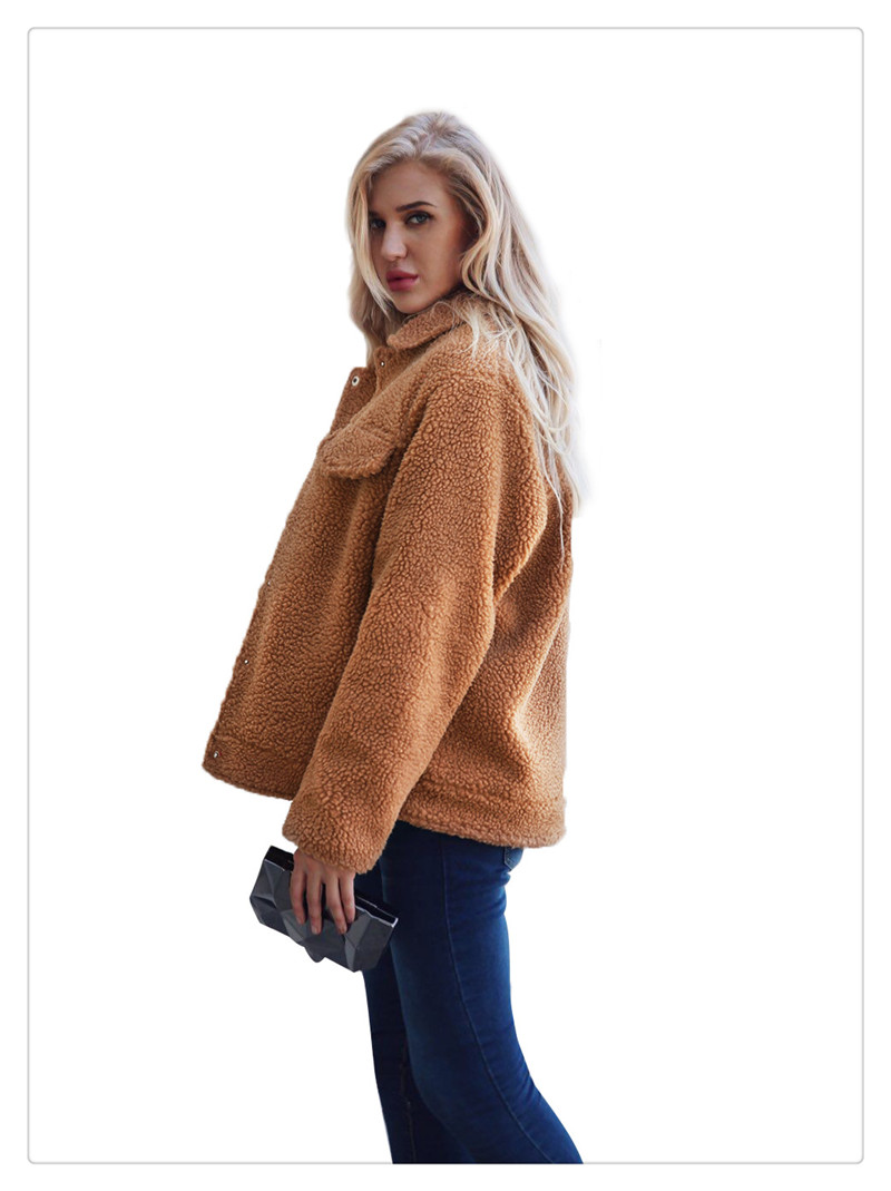 Spot Europe and the United States autumn and winter new style imitation fur foreign trade women plush coat leisure coat women (4)