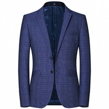 High Quality Mens Check Design Blazers Spring Autumn Custom Made Suit Jacket Casual Business Blue Color Blazer