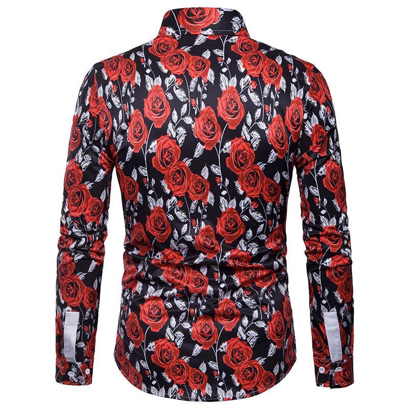 Men 39 s Shirt Rose Print Long Sleeve Blouse Men Lapel Collar Vintage Style Mens Dress Shirts in Casual Shirts from Men 39 s Clothing