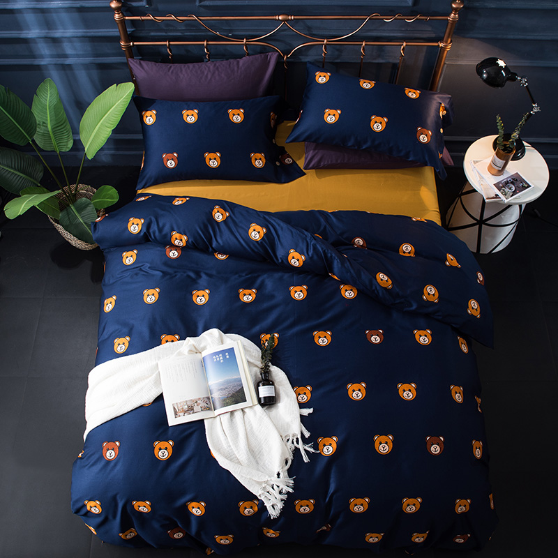 Egyptian cotton queen king duvet cover set Bears Birds print cute Bedding sets Bed cover Bed sheet set pillowcase 4Pcs 36Egyptian cotton queen king duvet cover set Bears Birds print cute Bedding sets Bed cover Bed sheet set pillowcase 4Pcs 36