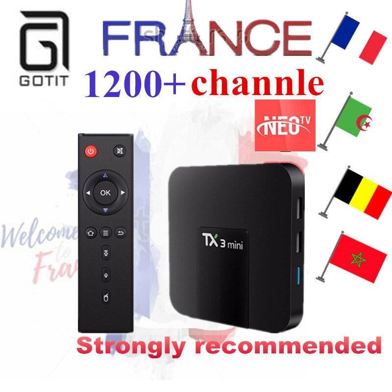 France IPTV TX3Mini  2G 16G ROM Android 7.1 Smart 4 K UHD TV doos + 1200 + NEOTV Europa Arabisch Beigium Marokko PayTV & VOD Set europa европа фотографии жорди бернадо