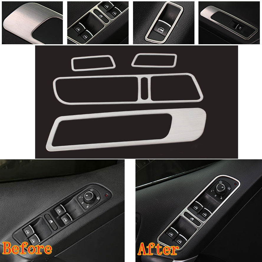 4x Car Styling Chrome Stainless Decoration Window Lifter Mirror Switch Panel Control Button Cover Trim Sticker Fit For VW Tiguan