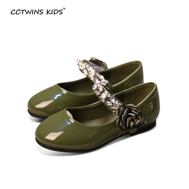 CCTWINS CRIANÇAS primavera outono crianças strass princesa sapatos para marca menina flor mary jane criança pu flats de couro