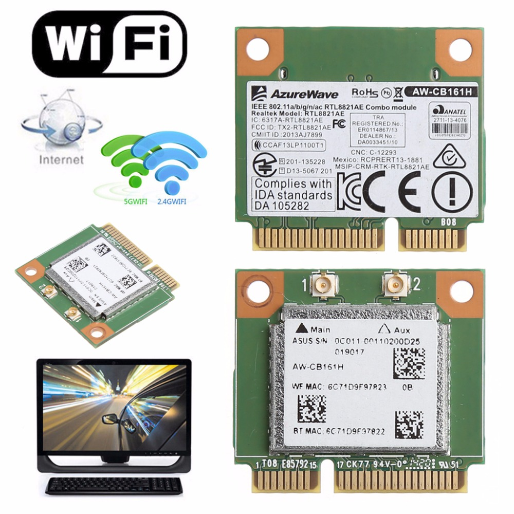 Dual Band 2.4+5G 433M 802.11a/b/g/n/ac WiFi Bluetooth 4.0 Wireless Half Mini PCI-E Card For Realtek RTL8821AE AW-CB161H orbit baby люлька колыбель orbit baby g3 bassinet