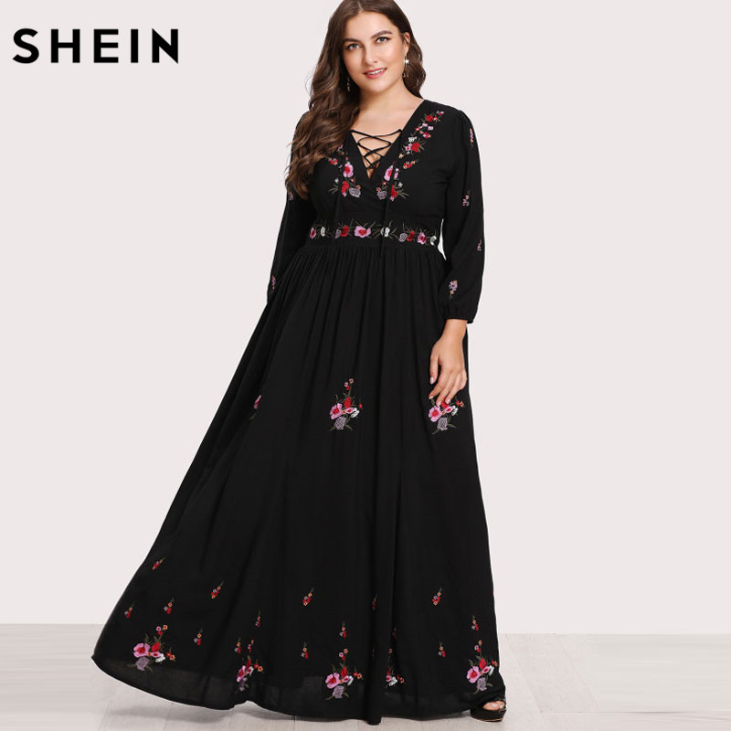 53bdd8cab4 SHEIN Black Dresses Large Sizes Sexy Lace Up Front Flower Embroidered Maxi Dress  Plus Size Spring Autumn Floral Dress-in Dresses from Women's Clothing on ...