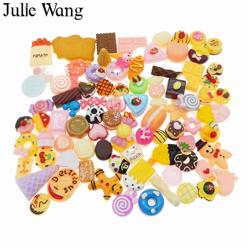 Julie Wang 20PCS Resin Food Cake Bread Candy Ice Cream Lollipops Cabochon Slime Charms Randomly Send Phone Decor Jewelry Making