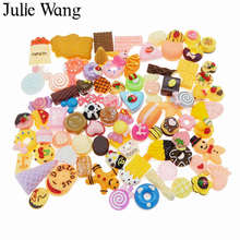 Julie Wang 20PCS Resin Food Cake Bread Candy Ice Cream Lollipops Cabochon Slime Charms Randomly Send Phone Decor Jewelry Making(China)