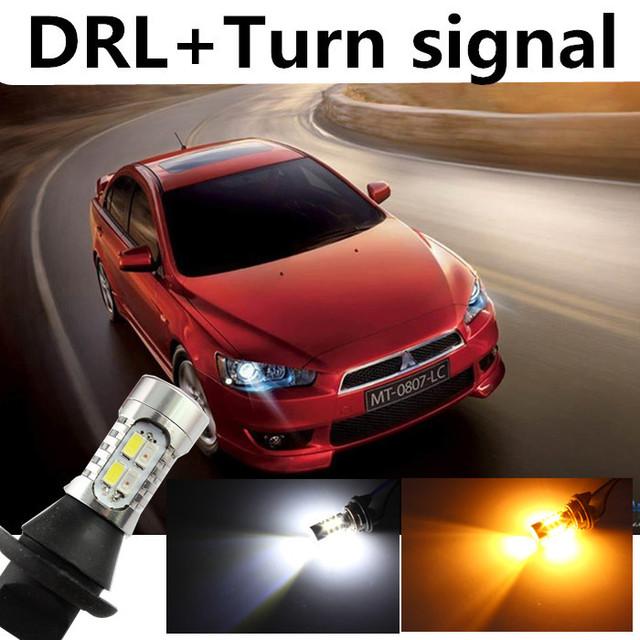 Para mitsubishi 2010-2015 evolução lancer ex drl daytime running light & luz xenon branco + âmbar turn signal frete grátis