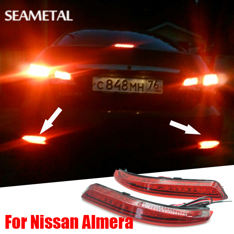 For Russia Nissan Almera 2013 2014 2015 2016 2017 Car Styling Rear Bumper LED Brake Lights Warning Lights Accessories dongzhen fit for nissan bluebird sylphy almera led red rear bumper reflectors light night running brake warning lights lamp