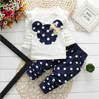 2017 new Spring children girls clothing sets mouse early autumn clothes bow tops t shirt leggings pants baby kids 2 pcs suit