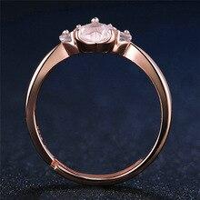 Rose Quartz Pink Paw Print Ring