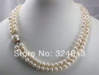 Free Shipping Rows White Black Cultured Pearl Necklace Mabe Clasp A