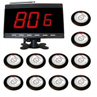 wireless calling system paging button 10 pcs red&white table bell and 1 pcs black display receiver .