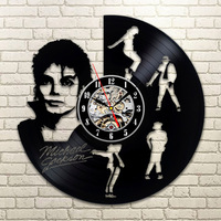 Dancing Michael Jackson Design Vinyl Record Wall Clock Creative Hanging Clocks Antique Art Home Decor Black