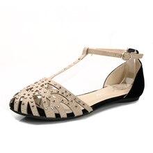 2018 mode femmes sandales plates strass découpe chaussures d\u0027été de haute  qualité à bout fermé dames chaussures femme gladiateur.