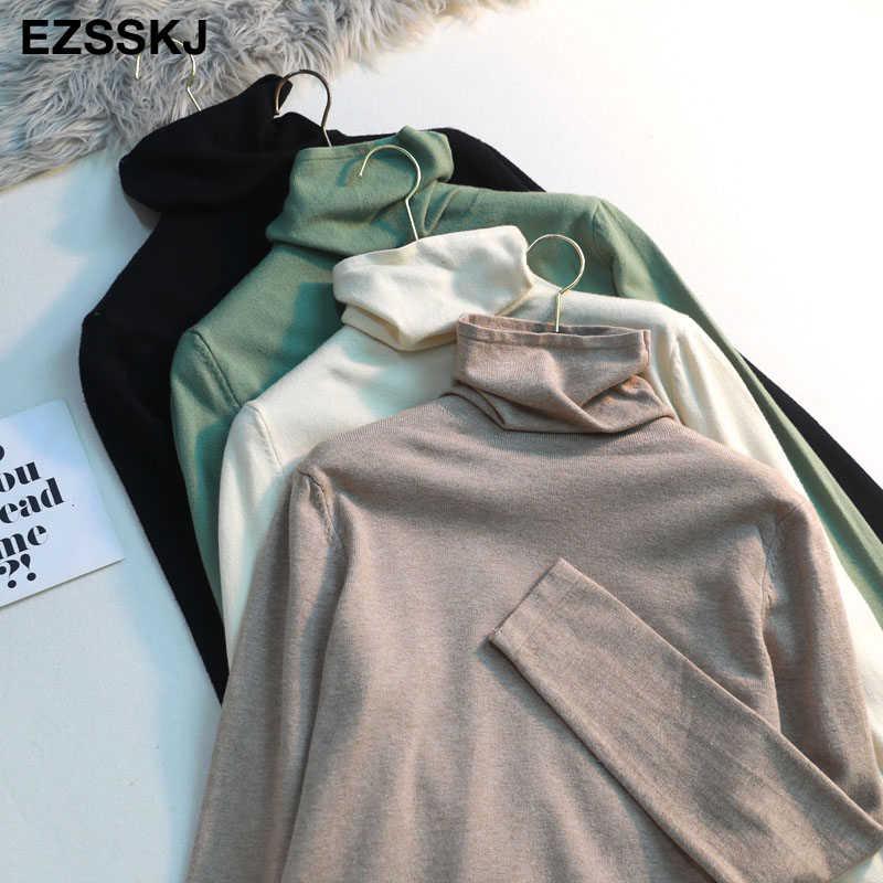 Повседневный свитер с ворсовым воротником на весну и осень, Женский вязаный джемпер с длинным рукавом, Женский Повседневный свитер с высоким воротом