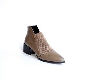 Image 4 - Botas de estilo chelsea para mujer, botines de piel auténtica suave sin cordones, puntiagudas, estilo clásico, liso, para primavera, L83