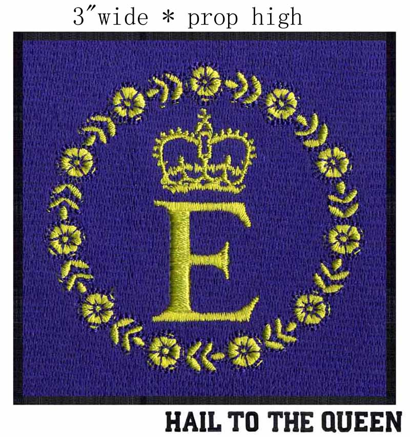 """Queen Elizabeth Personal <font><b>Flag</b></font> embroidery <font><b>patch</b></font> 3"""" wide shipping/garland of <font><b>gold</b></font> roses/dignity of queen/Royal Cypher"""