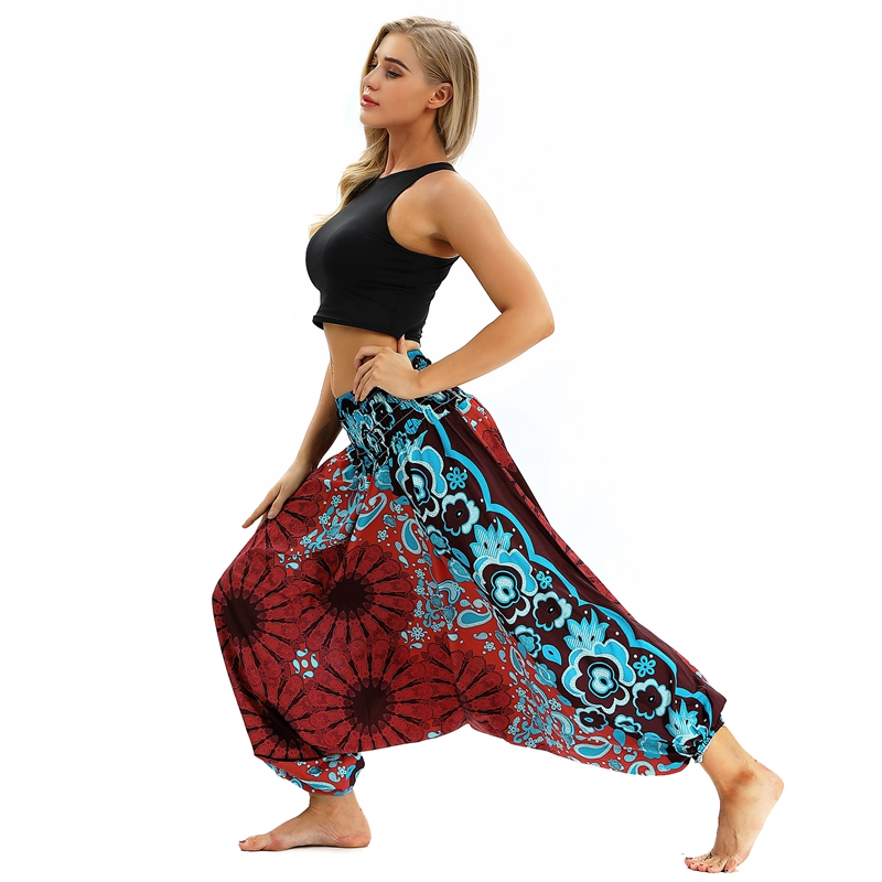 EU Size Red&Blue Flower Workout Bloomers Womens   Pants   Lounge   Pant   Boho Dance High Waist Elastic Lantern Leggings   Wide     Leg     Pants
