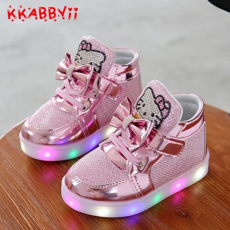 2018 nueva primavera Otoño Invierno de los niños zapatillas niños zapatos Chaussure Enfant zapatos de las muchachas de la historieta con la luz del LED UE 21 -30