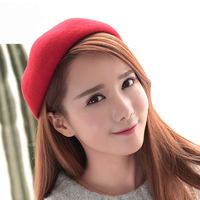 HT1412 High Quality Women Beret Hat Autumn Winter 100 Wool Hat Plain Red Black Grey Elegant